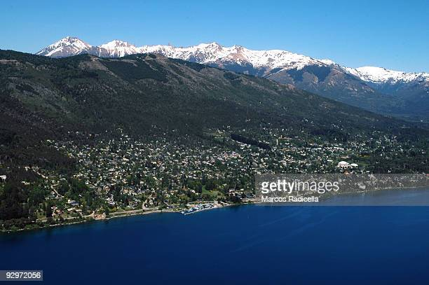 air vew of bariloche city, patagonia argentina - radicella stock pictures, royalty-free photos & images