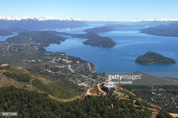 air view of bariloche, cerro otto - radicella stock pictures, royalty-free photos & images