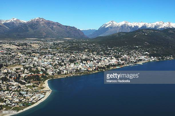 air view of bariloche city in patagonia - radicella stock pictures, royalty-free photos & images