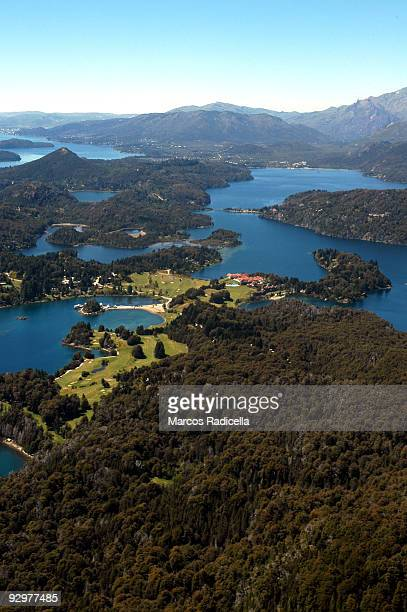air view of llao llao hotel, bariloche - radicella stock pictures, royalty-free photos & images