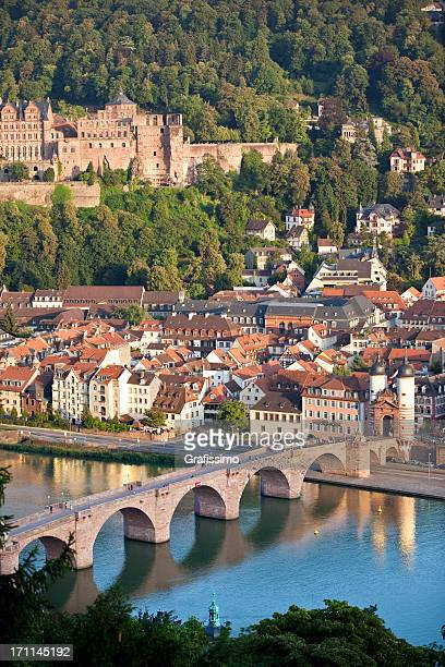 Air view of Old Bridge and castle in Heidelberg Germany