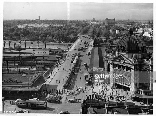 Air view of one of Melbourne's principal traffic outlets Princess Bridge and St Kilda Road Australia 1955