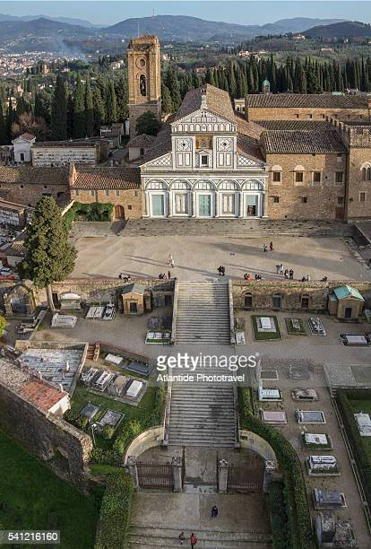 air view of san miniato by drone - san miniato stock pictures, royalty-free photos & images
