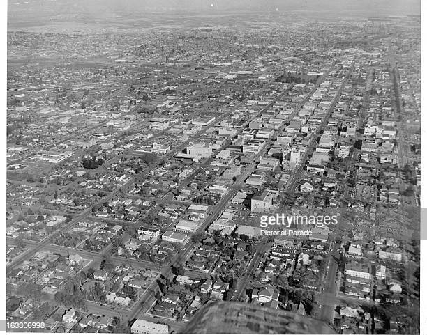 Air view of the city of Bakersfield California 1951