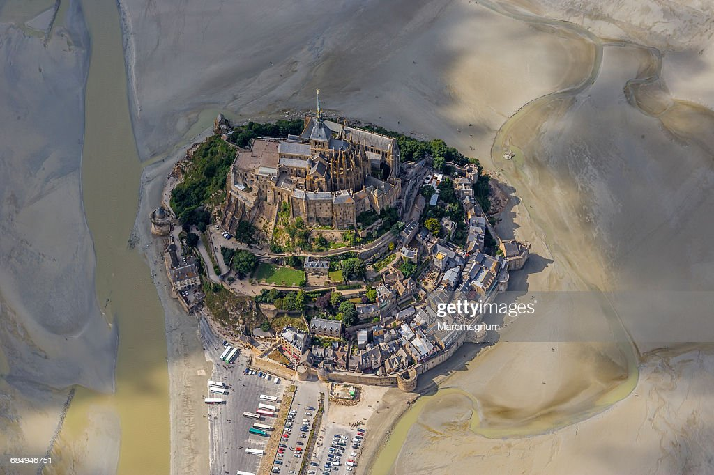 Air view of the fortified town during the low tide : Stock Photo