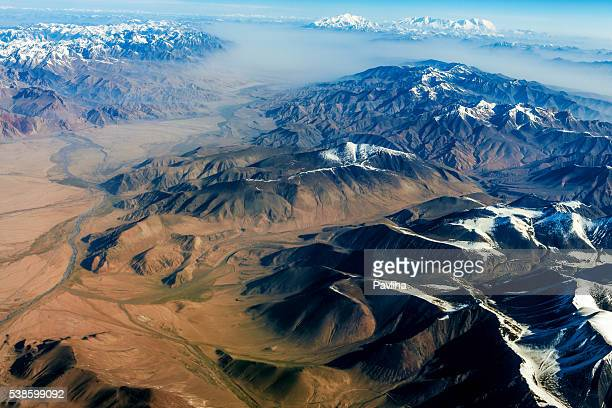 air view , pakistan mountains along the way to osaka - gilgit baltistan stock photos and pictures