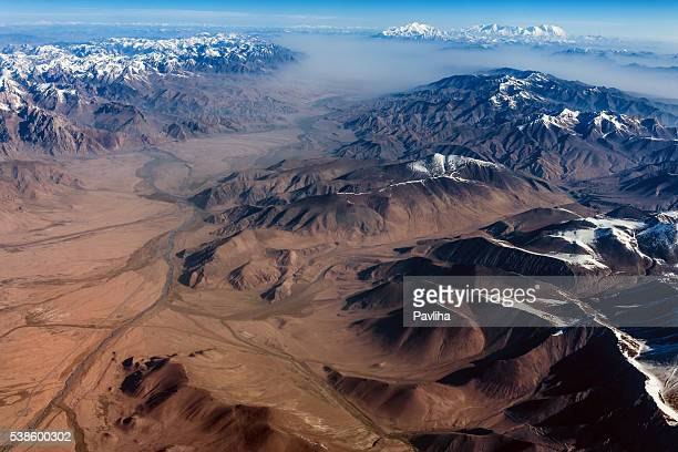 air view , pakistan mountains along the way to osaka - hunza valley stock pictures, royalty-free photos & images