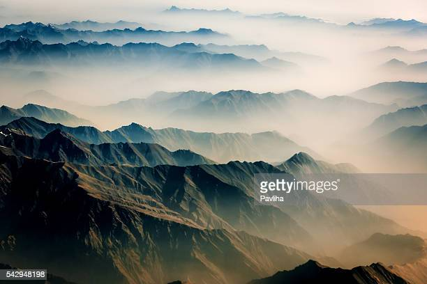 Air view , Pakistan mountains along the way to Osaka