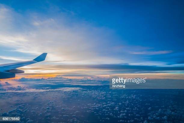 Air view, travel by plane, porthole out