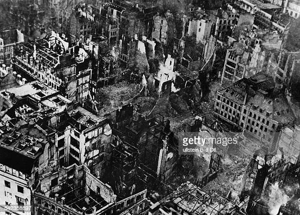 2WW Air War Damages in London caused by german bomb attacks View from St Paul's Golden Gallery over the ruins in the surroundings 1944
