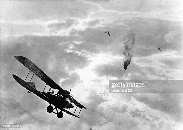 Air war: Shooting down of a British captive baloon by German airplanes - around 1916