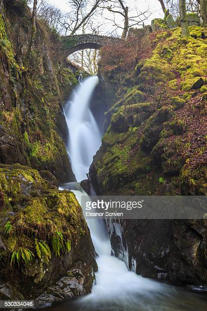 Aira Force waterfall in winter, near Dockray, Lake District National Park, Cumbria, England, United Kingdom, Europe