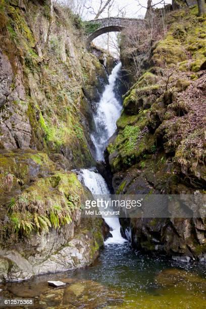 Aira Force waterfall, near Glenridding and Lake Ullswater, Lake District, Cumbria, England