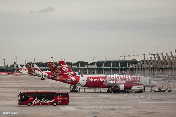 AirAsia Airplane park at Soekarno Hatta International Airport on December 28 2014 in Jakarta Indonesia AirAsia announced that flight QZ8501 from...