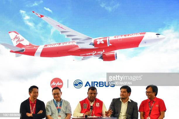 AirAsia boss Tony Fernandes is accompanied by AirAsia X Indonesia CEO Sulistyo Nugroho Hanung AirAsia X Thailand CEO Nadda Buranasiri AirAsia X...
