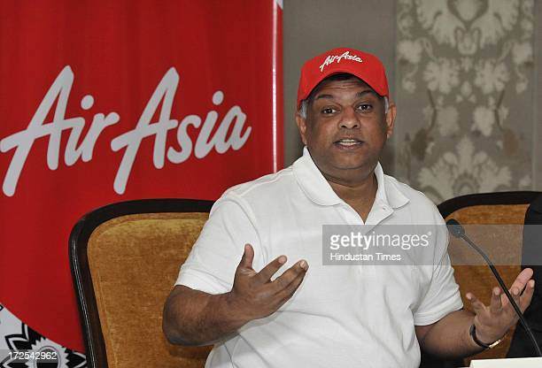 AirAsia CEO Tony Fernandes during a media interaction on July 3 2013 in New Delhi India Foreign Investment Promotion Board cleared a proposal for the...