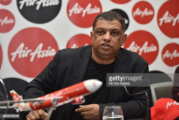 AirAsia Group CEO Tony Fernandes speaks at a press conference in Sydney on March 12 2015 Fernandes said he was not giving up on finding bodies from...