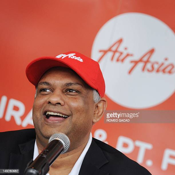 AirAsia group chief Tony Fernandes delivers his address during a signing ceremony with Batavia Air president director Yudiawan Tansari in Jakarta on...