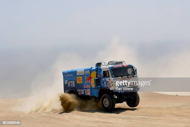 Airat Mardeev of Russia and Team KAMAZ Master drives with codriver Aydar Belyaev of Russia and mechanic Dmitriy Svistunov of Russia in a 4326 Kamaz...