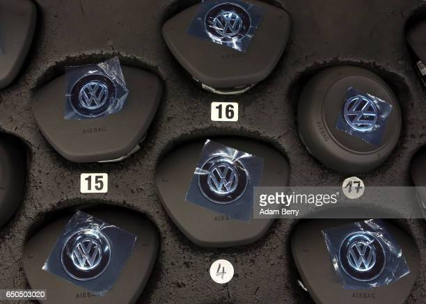 Airbag covers featuring the Volkswagen logo intended for Golf 7 automobiles are seen at the Volkswagen factory on March 9 2017 in Wolfsburg Germany...