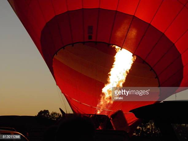 Air-balloon engines burning to heat the air