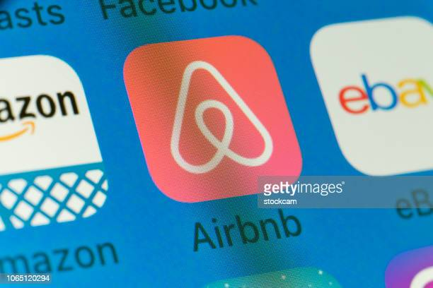 Airbnb, Amazon, eBay and other cellphone Apps on iPhone screen