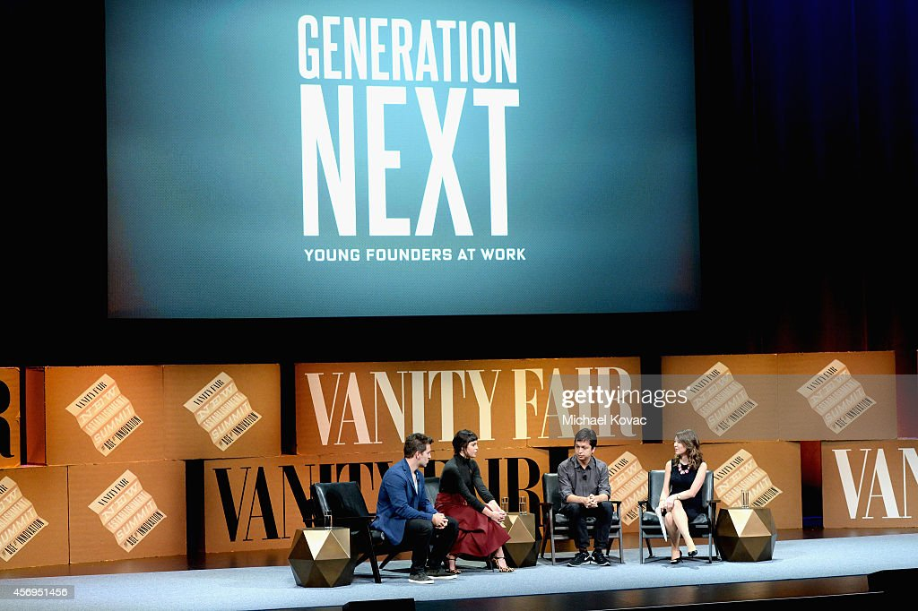 Airbnb Co-Founder and CEO Brian Chesky, Nasty Gal Founder Sophia Amoruso, Pinterest Founder and CEO Ben Silbermann and Bloomberg TV Anchor and Moderator Emily Chang speak onstage during 'Generation Next' at the Vanity Fair New Establishment Summit at Yerba Buena Center for the Arts on October 9, 2014 in San Francisco, California.