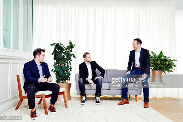 Airbnb cofounders Brian Chesky Joe Gebbia and Nathan Blecharczyk are photographed for Forbes Magazine on June 17 2018 at company's headquarters in...