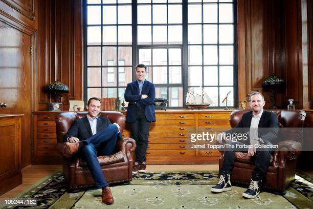 Airbnb cofounders Nathan Blecharczyk Brian Chesky and Joe Gebbia are photographed for Forbes Magazine on June 17 2018 at company's headquarters in...