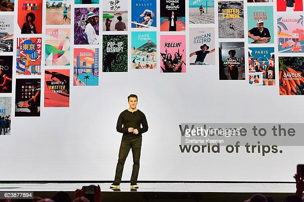 Airbnb founder/CEO Brian Chesky speaks onstage at 'Introducing Trips' Reveal at Airbnb Open LA on November 17 2016 in Los Angeles California