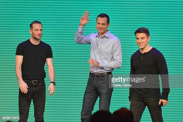 """Airbnb Founders Chief Product Officer Joe Gebbia, CTO Nathan Blecharczyk and CEO Brian Chesky speak onstage during the """"Introducing Trips"""" Reveal at..."""