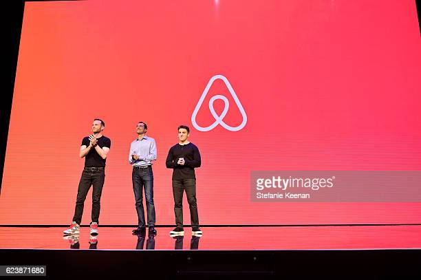 "Airbnb Founders Chief Product Officer Joe Gebbia, CTO Nathan Blecharczyk and CEO Brian Chesky speak onstage during the ""Introducing Trips"" Reveal at..."