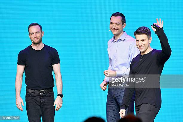 Airbnb Founders Chief Product Officer Joe Gebbia CTO Nathan Blecharczyk and CEO Brian Chesky speak onstage during the 'Introducing Trips' Reveal at...
