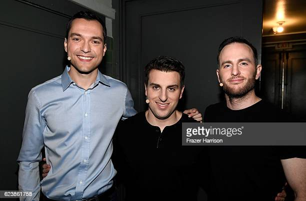 "Airbnb Founders CTO Nathan Blecharczyk, CEO Brian Chesky and Chief Product Officer Joe Gebbia attend the ""Introducing Trips"" Reveal at Airbnb Open LA..."