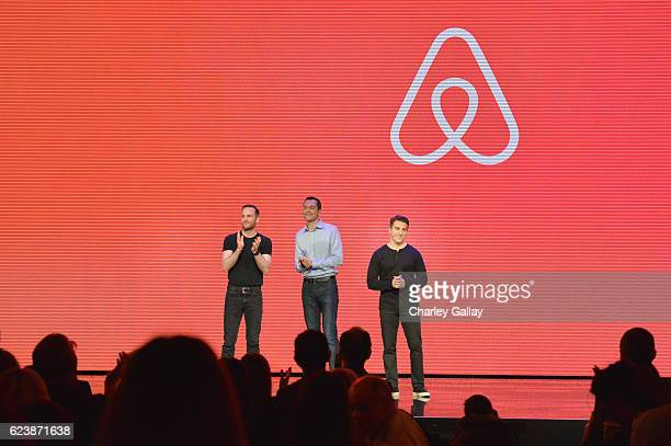 Airbnb Founders CTO Nathan Blecharczyk Chief Product Officer Joe Gebbia and CEO Brian Chesky speak onstage during the 'Introducing Trips' Reveal at...