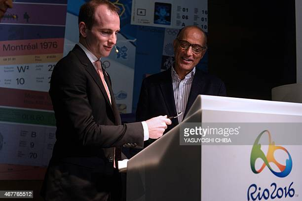 Airbnb online accommodation provider cofounder and Chief Product Officer Joe Gebbia and the CEO of the Brazilian Olympic Committee Sidney Levy...