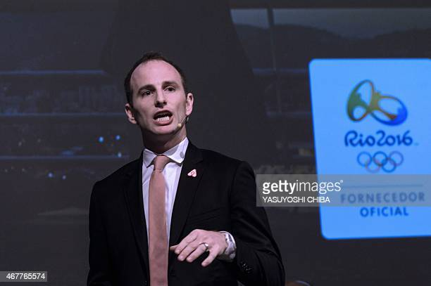 Airbnb online accommodation provider cofounder and Chief Product Officer Joe Gebbia announces to the media their partnership with the Brazilian...
