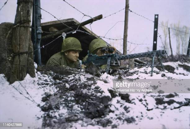 Airborne Infantrymen 30caliber Machine Gun ArdennesAlsace Campaign Battle of the Bulge 1945