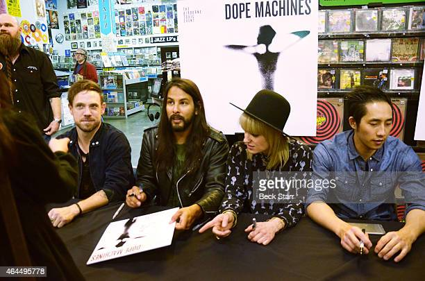 Airborne Toxic Event Mikel Jollett with fan Esmeralda Gonzalez Adrin Rodrguez Anna Bulbrook Steven Chen and Daren Taylor perform and sign copies of...