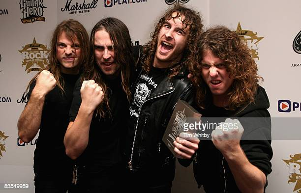 Airbourne pose in the media room with the Best New Band Award at the Classic Rock Roll of Honour Awards on November 3 2008 at the Park Lane Hotel in...