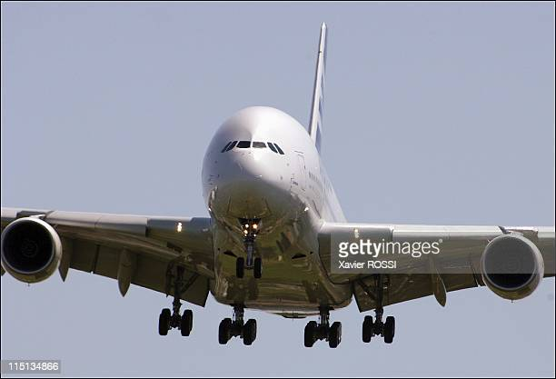 Airbus A 380 Completes historic 1st flight in Blagnac France on April 27 2005 The world's largest passenger plane the Airbus A380 successfully took...