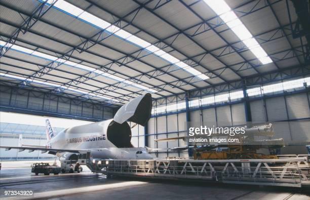 Airbus A300600ST Beluga in a hangar with front cargo door open