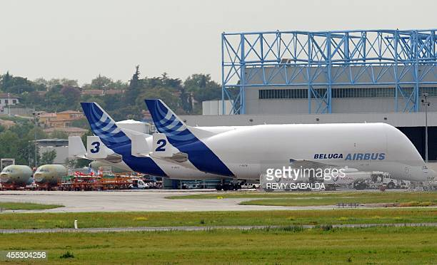Airbus A300600ST Super Transporters also known as Beluga and aircraft parts are seen on April 29 2010 at the main Airbus Toulouse plant southwestern...