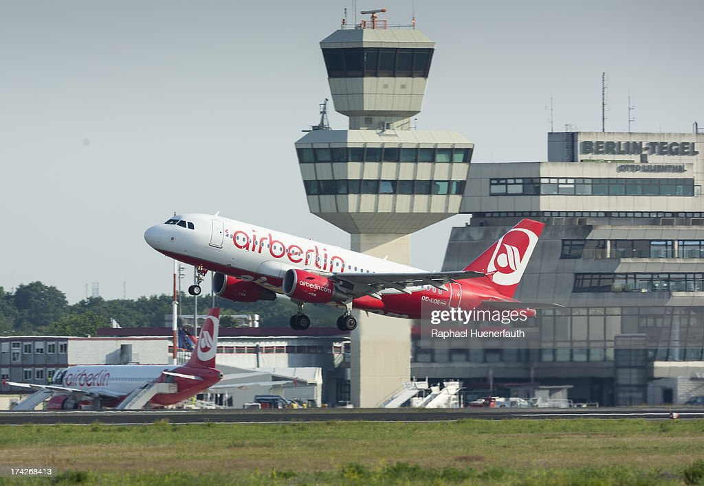 A Airbus A319 from the Airline -Air Berlin- takes off at Airport Otto-Lilienthal on June 18, 2013 in Berlin-Tegel, Germany.