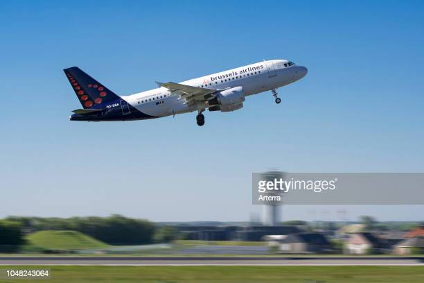 Airbus A319111 from Brussels Airlines taking off from runway at the BrusselsNational airport Zaventem Belgium