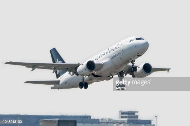 Airbus A319112 narrowbody commercial passenger twinengine jet airliner from Belgian Brussels Airlines in flight