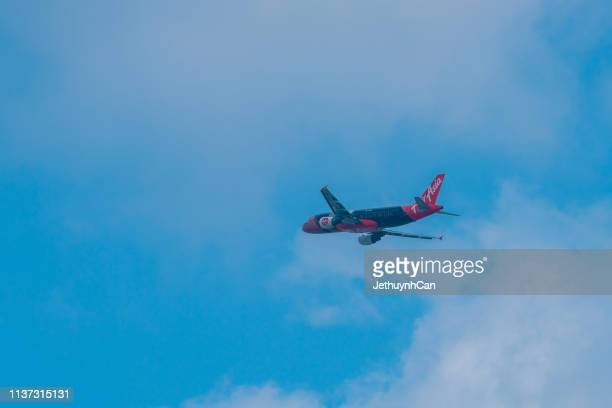 Airbus A320 aircraft of AirAsia taking off from Tan Son Nhat Airport in Ho Chi Minh City