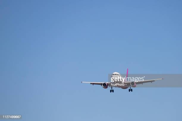 Airbus A320 aircraft of the low cost airline Wizz Air with registration landing at Eindhoven EIN EHEH international airport in The Netherlands during...