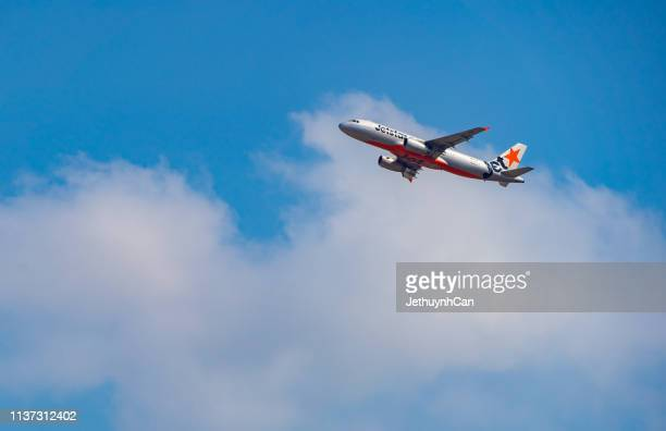 Airbus A320 airplane of Jetstar Pacific taking off from Tan Son Nhat Airport in Ho Chi Minh City