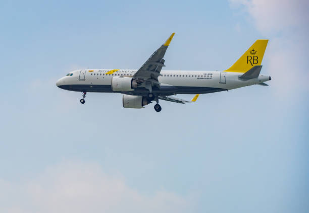 Airbus A320 airplane of Royal Brunei landing at Tan Son Nhat Airport in Ho Chi Minh City